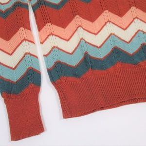 Vintage Sweaters - Vtg 70s S/M Chevron Pull Over Sweater Light Rust